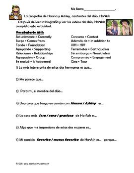 Ojala Spanish Song Lyrics and Fun Activities - Ha*Ash