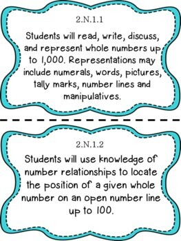 Oklahoma 2nd Grade Learning Objective Cards Math