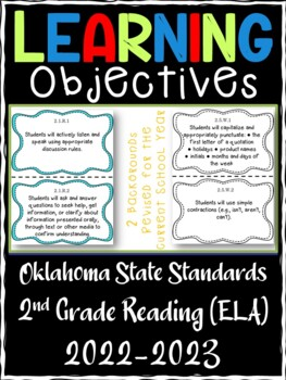 Oklahoma 2nd Grade Learning Objective Cards Reading/ Writing/ ELA