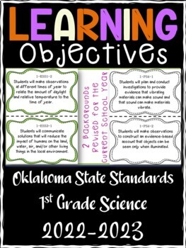 Oklahoma 1st Grade Learning Objective Cards | Science