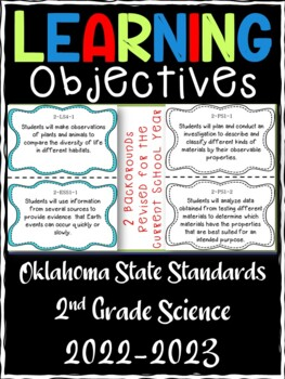 Oklahoma 2nd Grade Learning Objective Cards | Science
