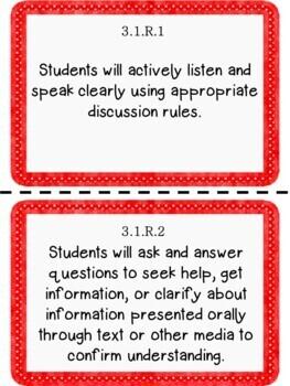 Oklahoma 3rd Grade Learning Objective Cards Reading/ Writing/ ELA