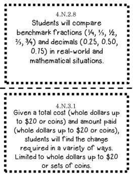 Oklahoma 4th Grade Learning Objective Cards Math