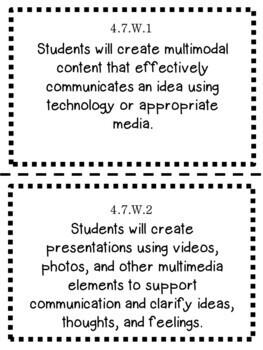 Oklahoma 4th Grade Learning Objective Cards Reading/ Writing/ ELA