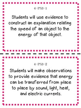 Oklahoma 4th Grade Learning Objective Cards | Science