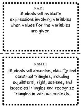 Oklahoma 5th Grade Learning Objective Cards Math
