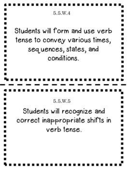 Oklahoma 5th Grade Learning Objective Cards Reading/ Writing/ ELA