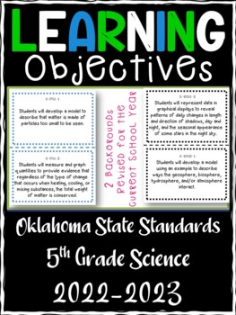 Oklahoma 5th Grade Learning Objective Cards   Science