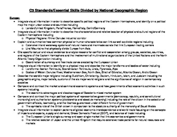 Oklahoma 7th Grade Geography C3 Standards Divided by Natio