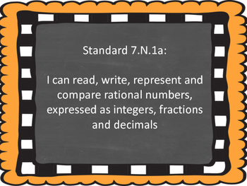 Oklahoma 7th Grade Math I Can Statements (Burlap and Chalkboard)