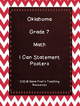 Oklahoma 7th Grade Math I Can Statements (Red and Chalkboard)