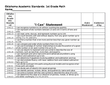 """Oklahoma Academic Standards 1st Grade Math """"I Can"""" Statements"""