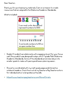 Oklahoma Academic Standards 2nd Grade Math Focus Wall Posters