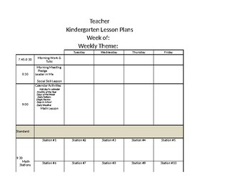 Oklahoma Academic Standards Kindergarten Template