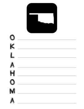 Oklahoma State Acrostic Poem Template, Project, Activity, Worksheet