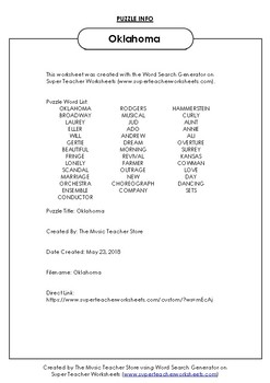 Oklahoma (Broadway Musical) Word Search