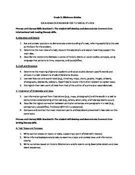 Oklahoma C3 3rd Grade Social Studies Standards