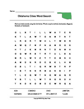 Oklahoma Cities Word Search (Grades 3-5)