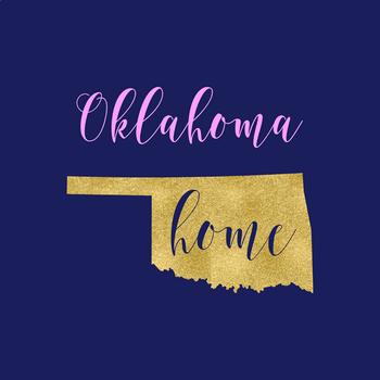 Oklahoma Clipart, USA State Vector Clipart, Oklahoma Home, Gold US Clipart