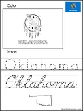 Oklahoma Color the Flag and Trace the State. Print and Cursive Handwriting