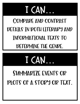 "BUNDLE Oklahoma ELA & Math ""I Can"" Statements Fourth Grade - Half and Full Page"