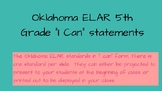 """Oklahoma ELAR """"I Can"""" Statements for 5th grade"""
