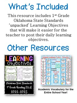 Oklahoma First Grade Learning Objective Cards Math