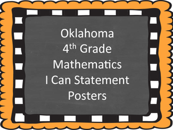 Oklahoma Fourth Grade Math I Can Statements (Burlap and Ch