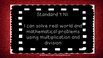Oklahoma Fourth Grade Math I Can Statements (Chalkboard and red burlap)