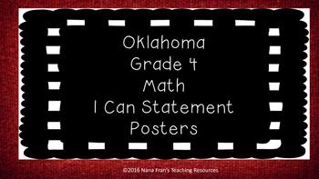 Oklahoma Fourth Grade Math I Can Statements (Chalkboard an