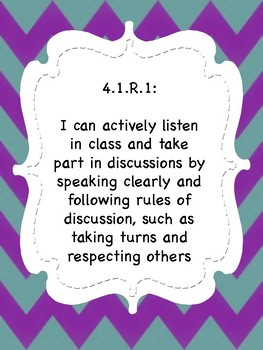 Oklahoma  Grade 4 ELA I Can Statement Poster in Purple/Teal Chevron