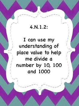 Oklahoma  Grade 4 Math I Can Statement Posters in Purple/Teal Chevron