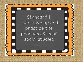 Oklahoma Grade 4 Social Studies I Can Statement Posters Burlap-Chalkboard