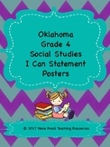 Oklahoma  Grade 4 Social Studies I Can Statement Posters in Purple/Teal Chevron