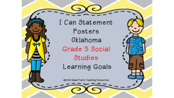 Oklahoma  Grade 5 I Can Statement Poster Bundle in Yellow and Gray Chevron