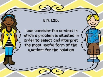 Oklahoma  Grade 5 Math I Can Statement Poster Format in Yellow and Gray Chevron