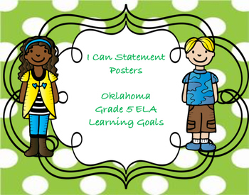 Oklahoma I Can Statement Posters for Grade 5 ELA in Polka