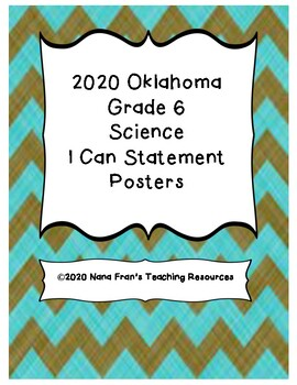 Oklahoma I Can Statement Posters for Grade 6 Science in Chalkboard Background