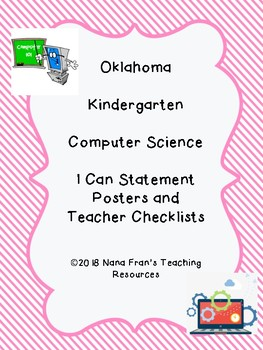 Oklahoma I Can Statement Posters for Kindergarten Computer Science
