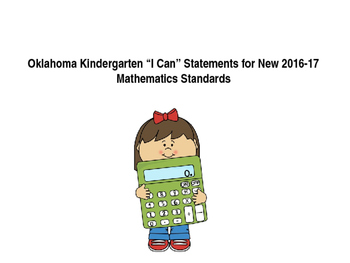 "Oklahoma Kindergarten ""I Can"" Statements for New  Math Standards"