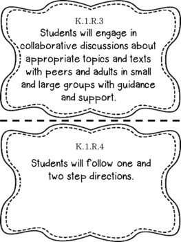 Oklahoma Kindergarten Learning Objective Cards Reading/ Writing/ ELA