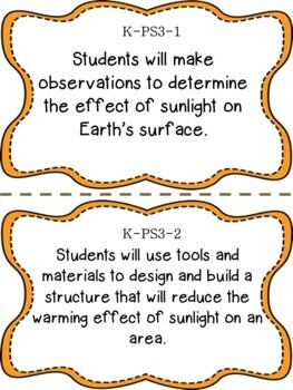 Oklahoma Kindergarten Learning Objective Cards | Science