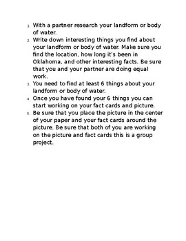 Oklahoma Land forms and bodies of water research for kids