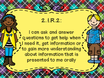 Oklahoma Learning Goals for Grade 2 ELA in I Can Statement Poster Format