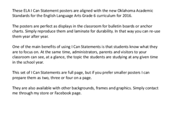 Oklahoma Learning Goals for Grade 6 ELA in I Can Statement Poster Format
