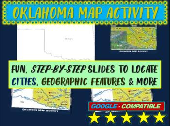Oklahoma Map Activity- fun, engaging, follow-along 20-slide PPT