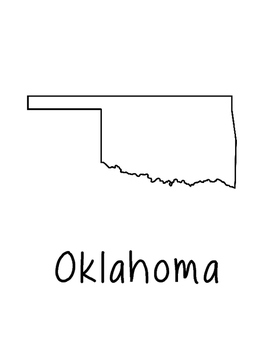 Oklahoma Map Coloring Page Craft - Lots of Room for Note-Taking & Creativity