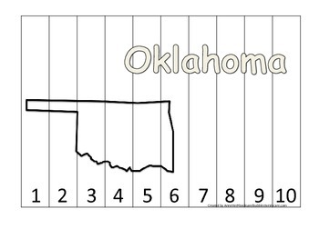 Oklahoma Number Sequence Puzzle.  Learn the States preschool printable game.