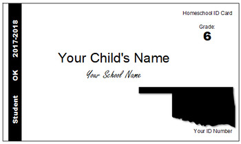 Oklahoma (OK) Homeschool ID Cards for Teachers and Students