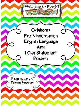 Oklahoma  Pre-K ELA I Can Statement Poster in Multicolored Chevron
